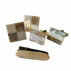 Vg Abalone Shell Mother Of Pearl Gold Cufflinks